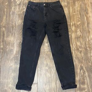 Topshop Black distressed mom jeans
